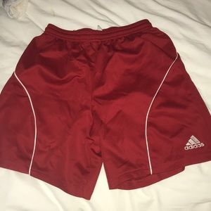 Red adidas soccer shorts